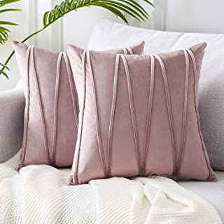 Top Finel Decorative Hand-Made Throw Pillow Covers Soft Particles Velvet Solid Cushion Covers 16 X 16 for Couch Bedroom Car, Pack of 2, Purple