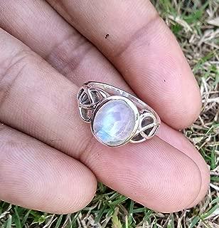 Rainbow Moonstone Ring, 925 Silver, Wedding & Engagement Ring, Boho & Hippie Ring, Gothic Ring, Genuine Moonstone Ring, Statement Ring, Healing Crystal, Promise Ring, Artisan Ring, love Stone Ring
