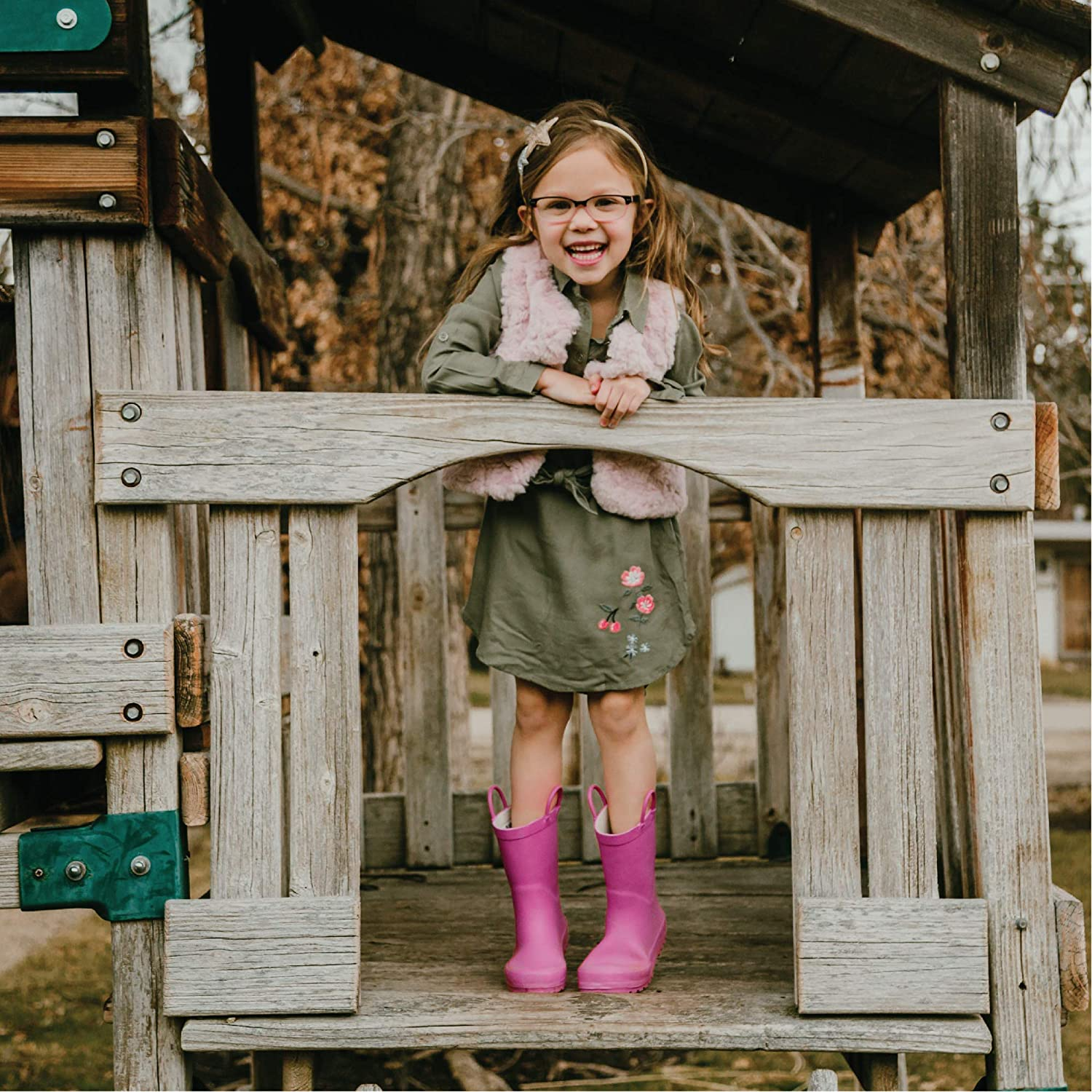 LONECONE Elementary Collection Premium Natural Rubber Rain Boots with Matte Finish for Toddlers and Kids