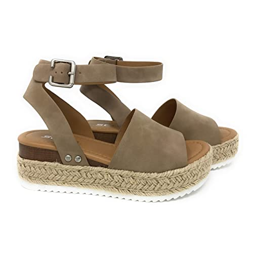 719c7c5417ab Womens Casual Espadrilles Trim Rubber Sole Flatform Studded Wedge Buckle  Ankle Strap Open Toe Sandals