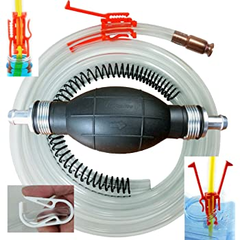 Siphon Pro XL - Largest Siphon for Water - Gas - Diesel - SEE VIDEO - It's a Pump or Siphon – Get Work Done Fast! 8' & Shut off Clip - US Built - Great Prepper Tool