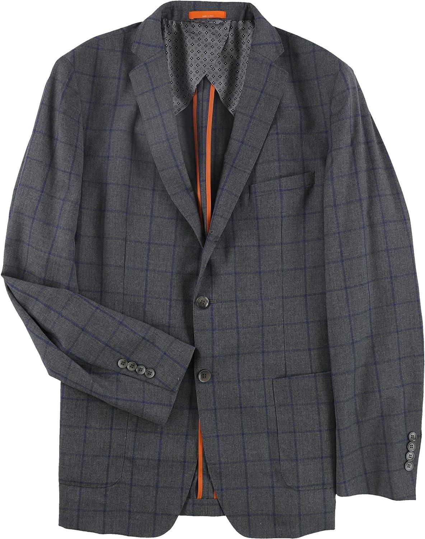 Tallia Mens Windowpane Two Button Blazer Jacket