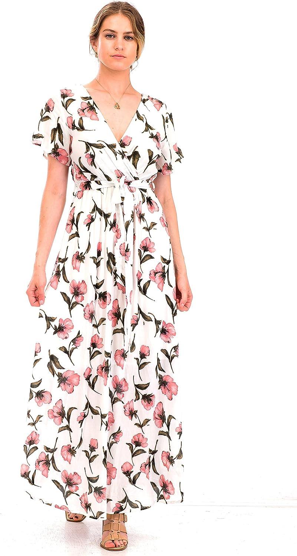 Malibu Days Short Sleeve VNeck Floral Print Maxi Long Summer Beach Festival Dress