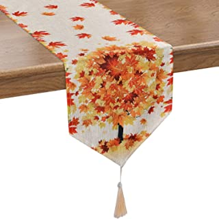 Smurfs Yingda Maple Tree Leaves Table Runner Orange Autumn Table Runner for Thanksgiving Day, Autumn, Fall, Catering Events, Dinner Parties, Wedding, Indoor and Outdoor Parties(12 × 70 inches)