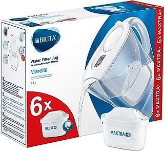 BRITAMarellablancaPack Ahorro – Jarra de Agua Filtrada con6 cartuchos MAXTRA+, Filtro de agua BRITA que reduce la cal ...