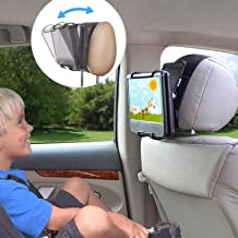 TFY Universal Car Headrest Mount Holder with Angle- Adjustable Holding Clamp for Swivel Screen Portable DVD Players, Black
