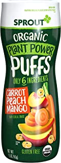 Sprout Organic Quinoa Puffs Baby Snacks, Carrot Mango, 1.5 Ounce Canister (Pack of 1)..