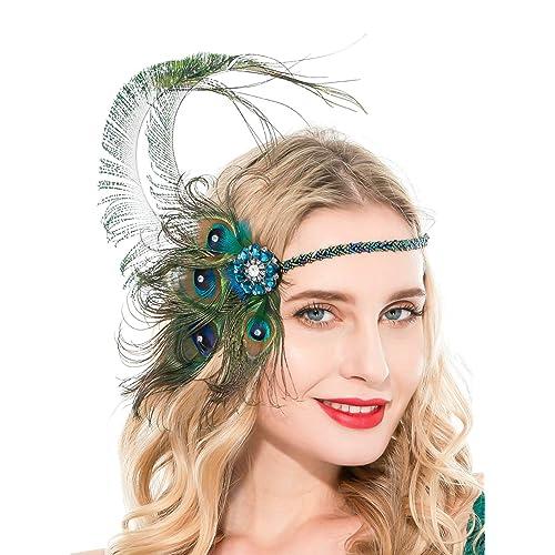 Zivyes Peacock Flapper Headband 1920s Headpiece for Women Roaring 20s Accessories