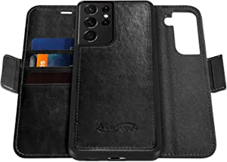 Newseego Compatible with Samsung Galaxy S21 Ultra Leather Case (6.8Inch), Magnetic Closure Multi-Credit Card Slot Cash Hol...