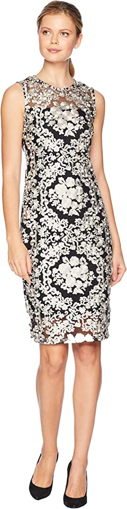 Embroidered Floral Printed Lace Sheath Dress