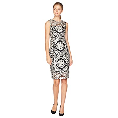 Calvin Klein Embroidered Floral Printed Lace Sheath Dress (Black Multi) Women