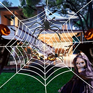 Tmflexe 6 in 1 Halloween Decorations Spider Web Set, 3 Pcs Scary Hairy Spider Decorations with Giant Spider Web 20 Small P...