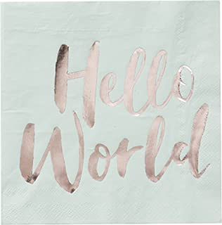 Ginger Ray Hello World Mint & Rose Gold Baby Shower Paper Napkins x 20 - Hello World
