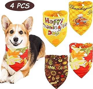 SATINIOR 4 Pieces Thanksgiving Day Dog Bandana Thanksgiving Leaf Triangle Bib Scarf Reversible Adjustable Bandana Kerchief for Dog Cat Pet