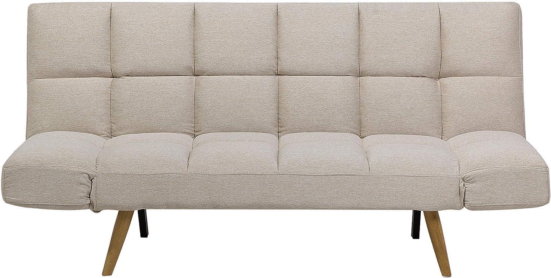 Beliani Ingaro Scandinavian Style Folding Sofa Bed Patchwork Beige ...