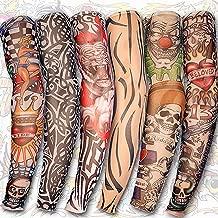 Yariew 6pcs Temporary Tattoo Sleeves, 6pcs Set Arts Temporary Fake Slip On Tattoo Arm Sleeves Kit