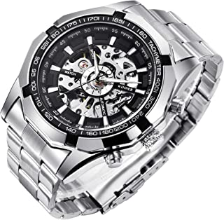 Gute Skeleton Watches for Men, Automatic Mechanical Watch, Luxury X Dial Steampunk Sport Business Stainless Steel Wrist Watch