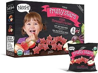 Nosh Fruity Stars Organic Fruit & Veggie Chews Toddler Snack, 5 Snack Packs, Apple, Strawberry & Beet