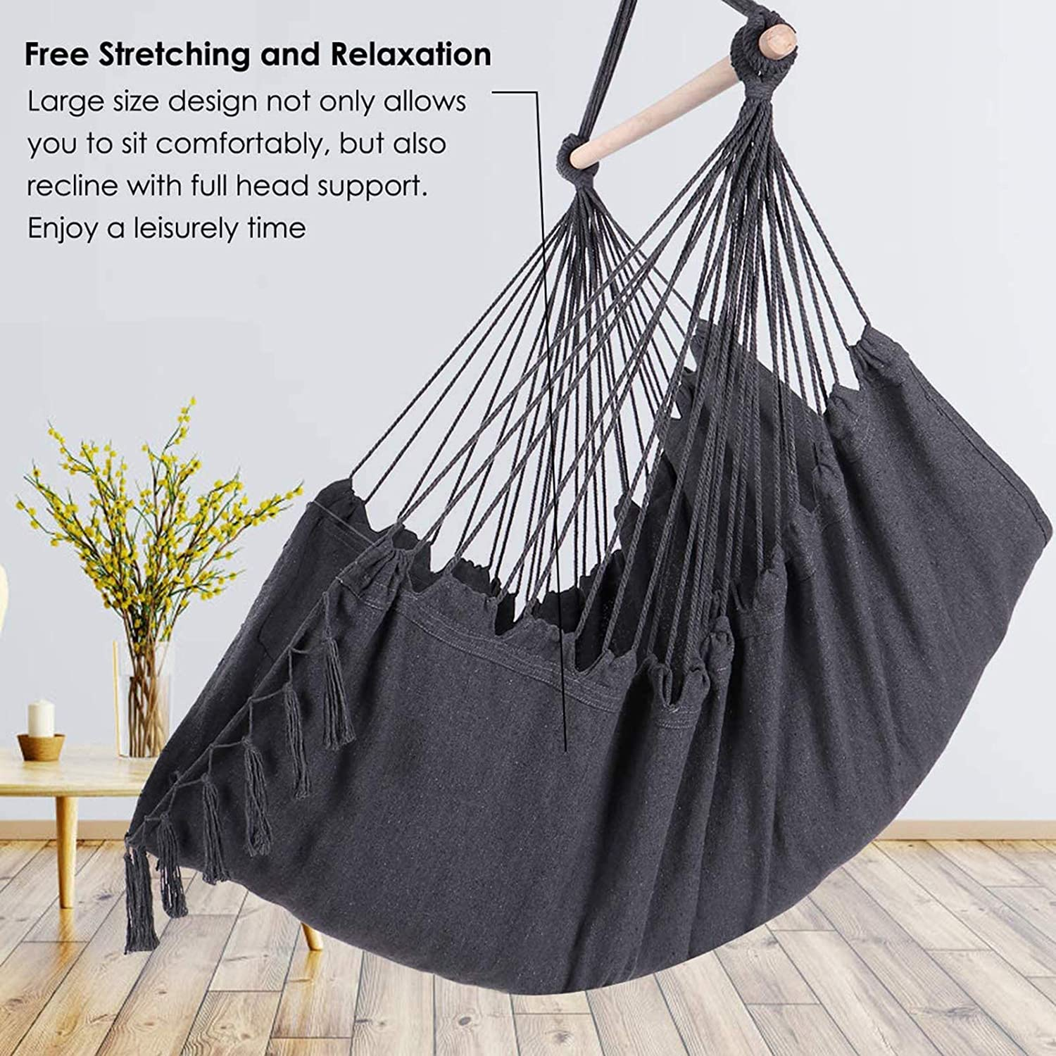Hanging Chair Cotton Canvas Hammock Chair Hanging Rope Swing Seat for Bedroom Indoor Outdoor Bcamelys Hammock Chair Swing Include Two Soft Seat Cushions American Transportation, Fast Delivery