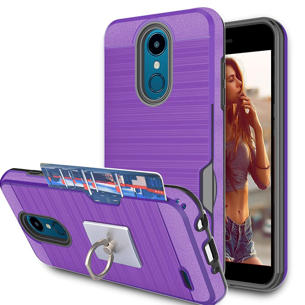 LG Zone 4 / Aristo 2 / Tribute Dynasty / K8 2018/ V3 2018 Case With Phone Stand,Ymhxcy [Credit Card Wallet Slots Holder] Hybrid Dual Layer Protective Cover Shell For LG X210MA/ X210-LCK Purple