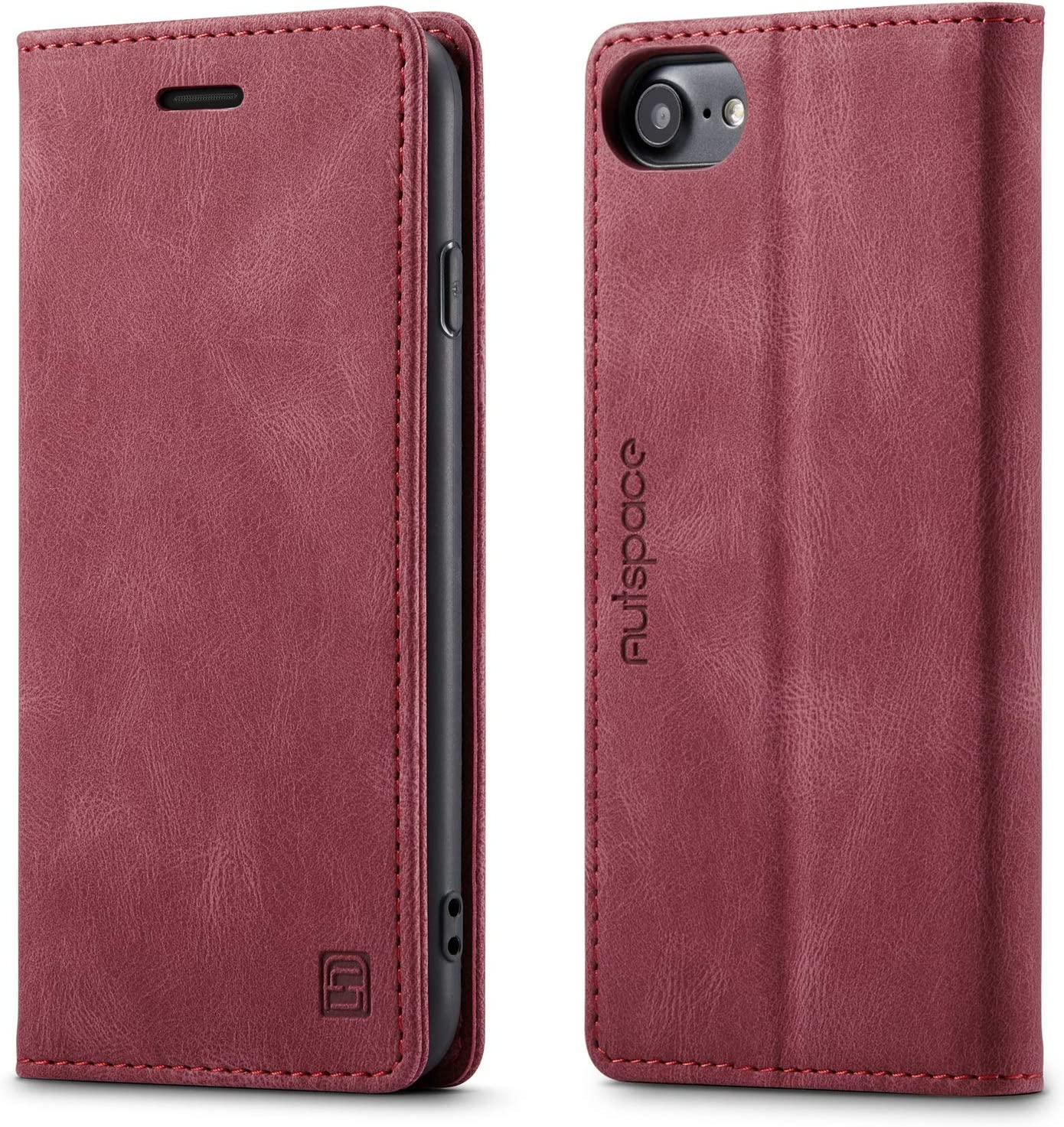 EYZUTAK Case for iPhone 6 iPhone 7 iPhone 8 iPhone SE 2020, Retro Matte Protective Leather Case with RFID Blocking Viewing Stand Magnetic Closure TPU Shell Flip Cover - Red