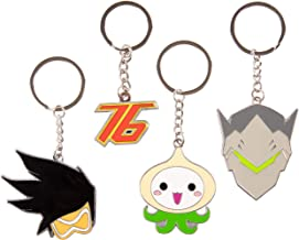 Overwatch Keychain Accessory 4 Pack - Tracer, Genji, Soldier 76 and Pachimari - Gamer Character Icon Symbols