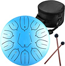Steel Tongue Drum - 11 Notes 12 inches - Percussion Instrument -Handpan Drum with Bag, Music Book, Mallets, Finger Picks