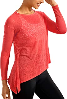 CRZ YOGA Women's Burnout Cottony-Soft Sports Shirt Drapey Fit Side Slit Long Sleeve Top