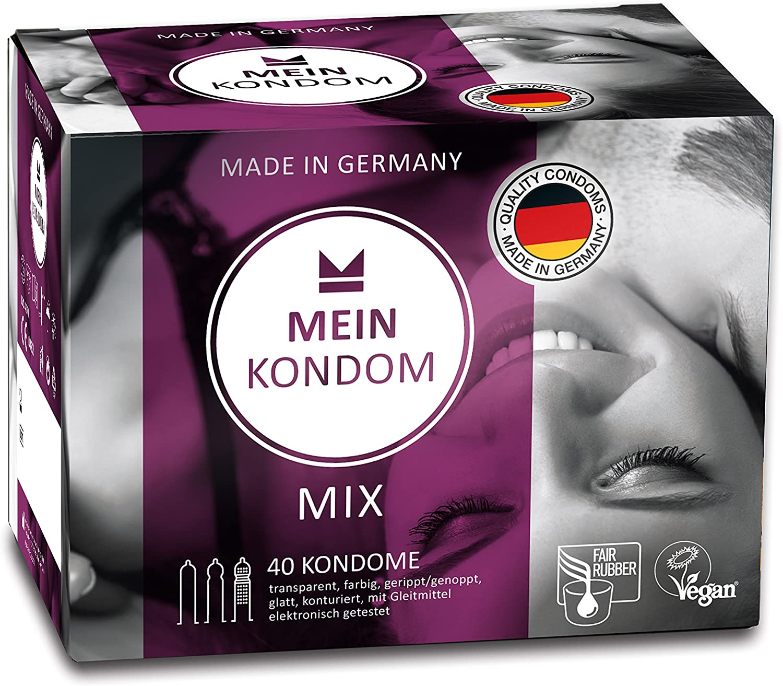 MEIN KONDOM Mezcla de cajas 40s Condones Fair & Vegan - Hecho en Alemania