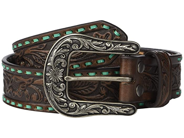 M&F Western Nocona Embossed Belt w/ Contrast Laced Edges (Brown/Turquoise) Women
