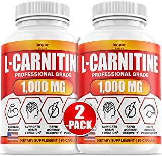 (2-Pack) L-Carnitine 1000mg Capsules for Women and Men - Supports Energy Production, Athletic Performance, Stamina, Workou...