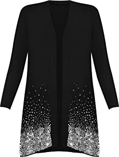 b8c914088 New Plus Size Ladies Sequin Cardigan Long Sleeve Womens Sparkle Top Plus  Sizes 12-30