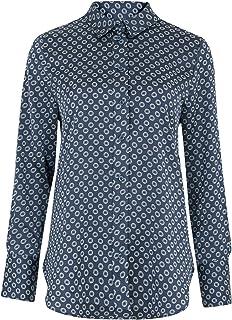 Marks & Spencer Women's Satin Geometric Long Sleeve Shirt, BLUE MIX