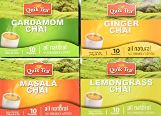 QuikTea Chai Tea Latte 4 Flavor Variety Pack, Cardamom/Masala/Ginger/Lemongrass, 960 Gram (Packaging May Vary)