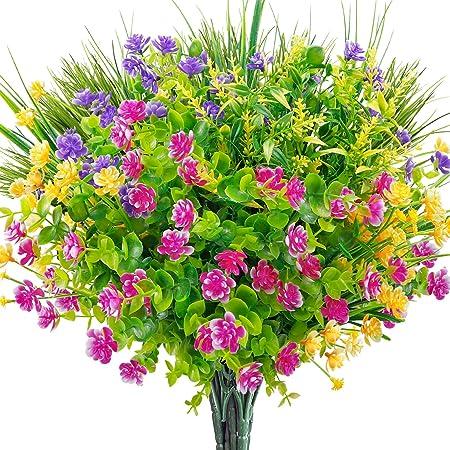 AGEOMET 9pcs Artificial Flowers Outdoor, UV Resistant Shrubs Plants Outdoor Fake Flowers, Plastic Silk Flowers for Outside Garden Window Box Indoor Hanging Planter Decor