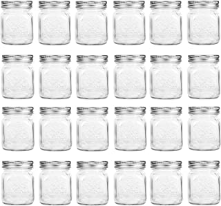 24 Pack, Mason Jars, 4 oz Mini Canning Jars Glass Jars with Lids Ideal for Jam, Honey, Wedding Favors, Shower Favors, Baby Foods, DIY Magnetic Spice Jars
