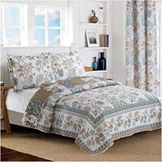 All American Collection New Reversible 3pc Floral Printed Blue/White Bedspread/Quilt Set (Queen Size)
