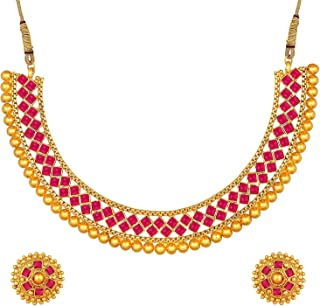 Sponsored Ad - Aheli Ethnic Wedding Party Wear Gold Tone Faux Stone Studded Necklace with Stud Earrings Set Indian Bollywo...