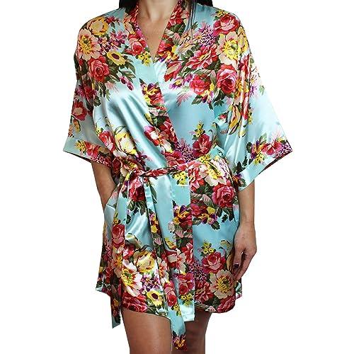 e72f054d6e Ms Lovely Women s Floral Satin Kimono Short Bridesmaid Robe Pockets - Silky  Touch