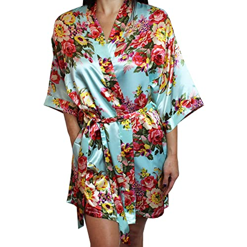 d7d4eee62e Ms Lovely Women s Floral Satin Kimono Short Bridesmaid Robe Pockets - Silky  Touch