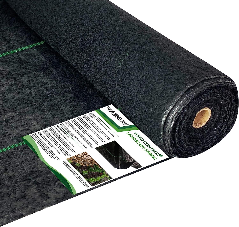 WAENLIR 5.8oz Heavy Duty Weed Barrier Landscape Fabric,Premium Durable Weed Blocker Cover,Outdoor Gardening Weed Control Mat 4ft x250ft