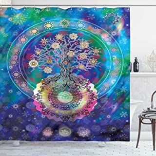 Ambesonne Home Decor Collection, Tree of Life with Floral Style Mandala Artwork Meditation Peace Spa Design, Polyester Fabric Bathroom Shower Curtain Set with Hooks, Blue Purple
