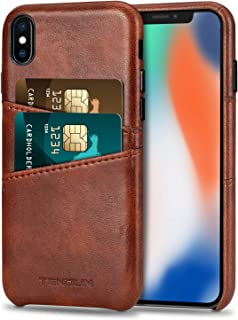 TENDLIN Compatible with iPhone Xs Case/iPhone X Case Wallet Design Premium Leather Case with 2 Card Holder Slots Compatibl...