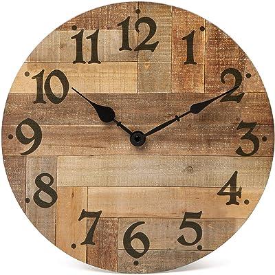 Amazon Com Lohas Home 12 Inch Silent Vintage Wooden Round Wall Clock Arabic Numerals Vintage Rustic Chic Style Wooden Round Home Decor Wall Clock Victor Hugo Kitchen Dining