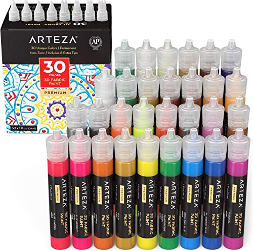 Arteza 3D Fabric Paint, Set of 30, Metallic & Glitter Colors, 1oz Tubes, Glow-in-The-Dark & Vibrant Shades, Textile P...