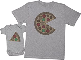 Zarlivia Clothing Pizza and Pizza Slice - Matching Father Baby Gift Set - Mens T Shirt & Baby Bodysuit