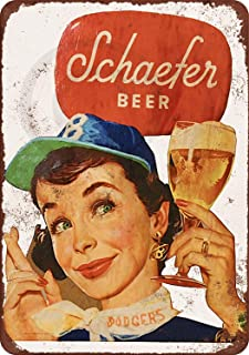 Jesiceny New Tin Sign Schaefer Beer and Brooklyn Dodgers Vintage Look Aluminum Metal Sign 8x12 Inches