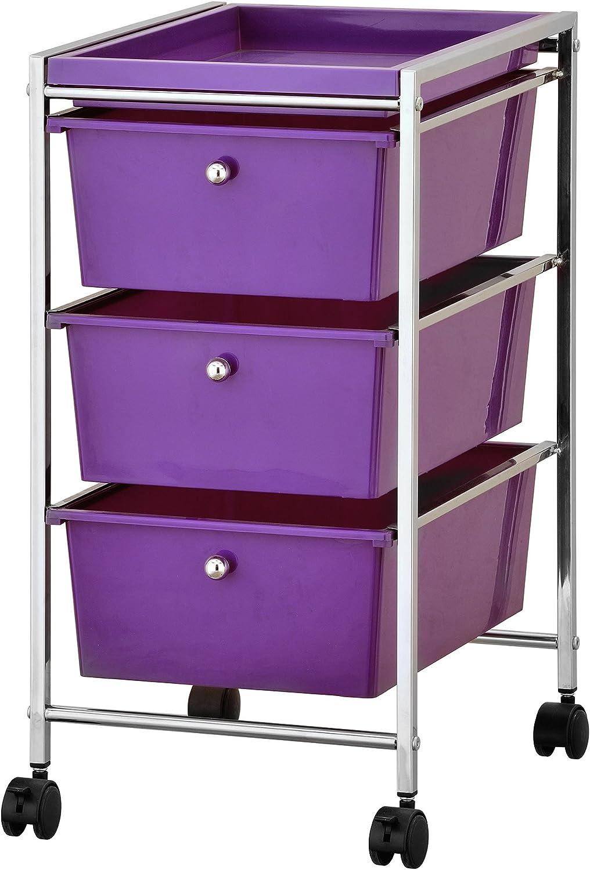 Furinno WS17303 Wayar Storage Cart, Chrome Purple