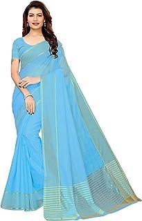 GoSriKi Cotton with Blouse Piece Saree (Club-Sky IND Blue_Free Size)
