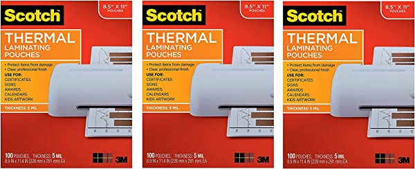 Scotch Thermal Laminating Pouches 8 9 X 11 4 Inches 5 Mil Thick 100 Pack TP5854 100 Clear Pack Of 3